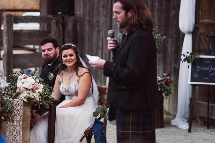 groomsman in kilt giving toast | John Patrick Images | As seen on TodaysBride.com