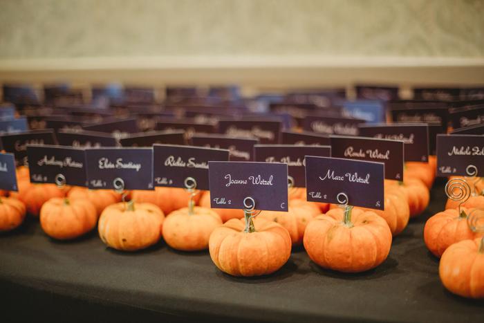 Pumpkin Escort Cards | Jadie Foto | As seen on TodaysBride.com