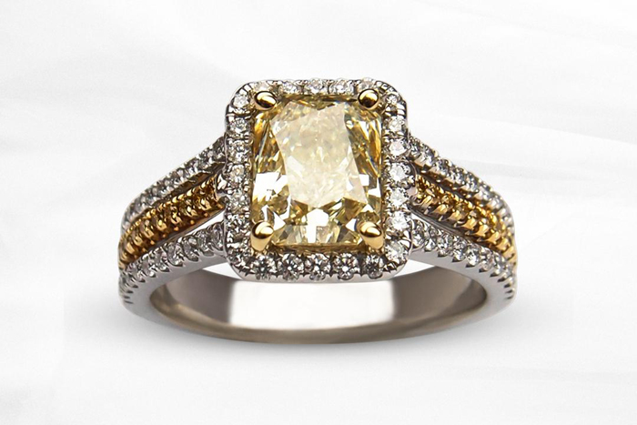Yellow Engagement Ring   ALTR Created Diamonds   As seen on TodaysBride.com