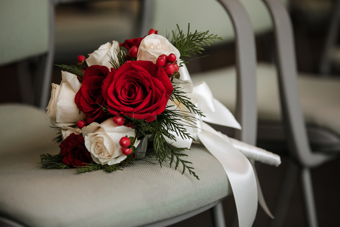 Red Winter Flowers | Karen Menyhart Photography | As seen on TodaysBride.com
