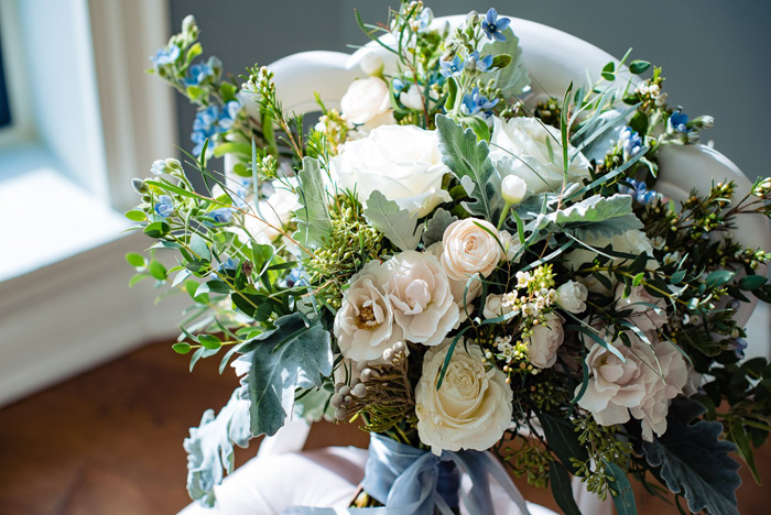 Blue Wedding Flowers | The Right Moments Photography | As seen on TodaysBride.com