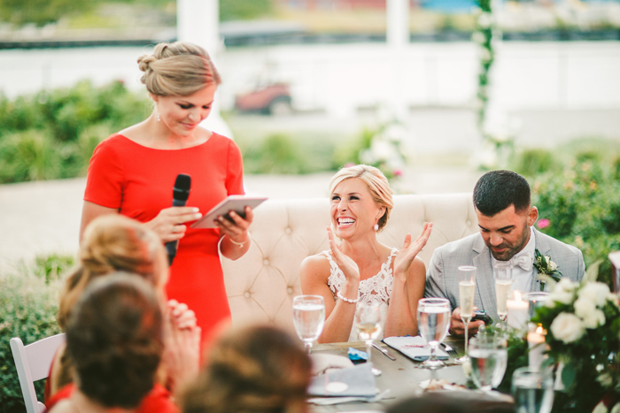 Bridesmaid giving a toast | too much awesomeness | As seen on TodaysBride.com