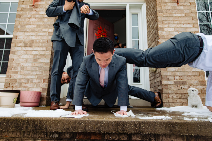 Groomsmen performing pushups | too much awesomeness | As seen on TodaysBride.com