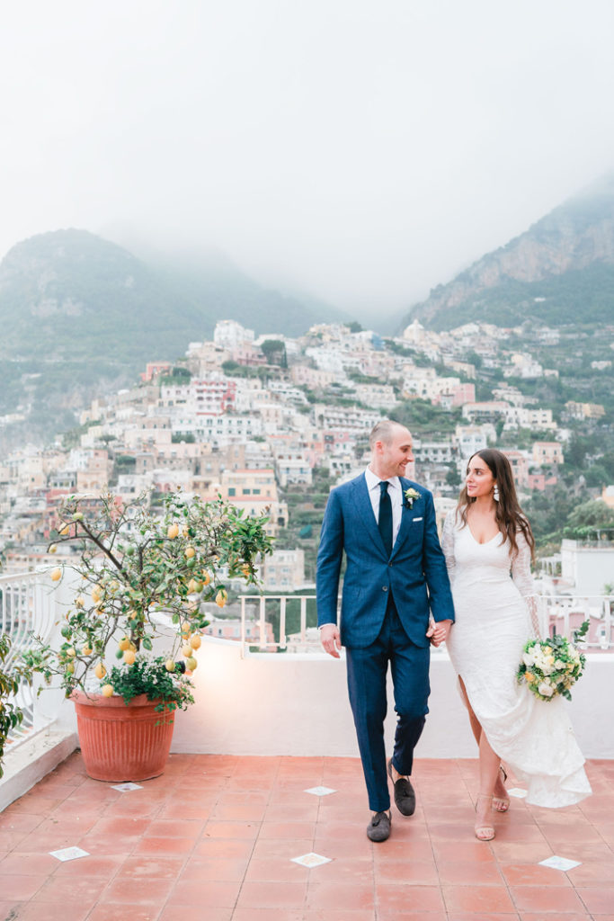 Bride and Groom in Positano Italy   Fabrizio and Romina Photography and Film   As seen on TodaysBride.com