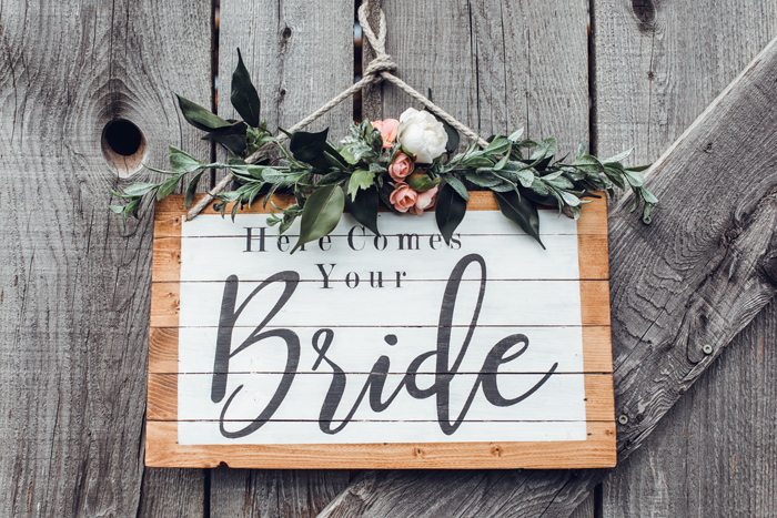 Bride Sign | Walnut Ridge Leather Co. | ROSIE Photography | As seen on TodaysBride.com