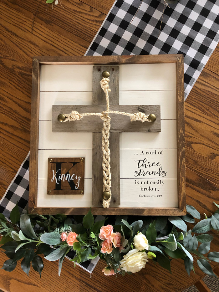 Three cord cross | Walnut Ridge Leather Co | As seen on TodaysBride.com