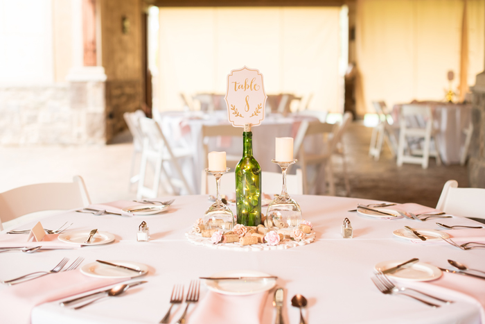 Wine Bottle Centerpiece | Sabrina Hall Photography | As seen on TodaysBride.com