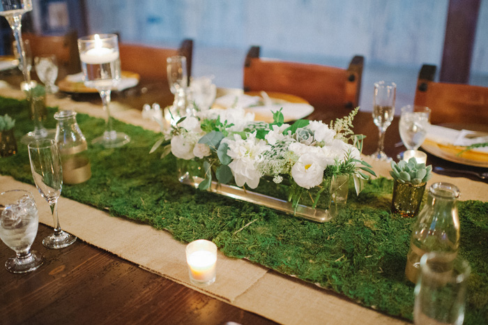 Moss Table Runner | Shea Christine Photography | As seen on TodaysBride.com