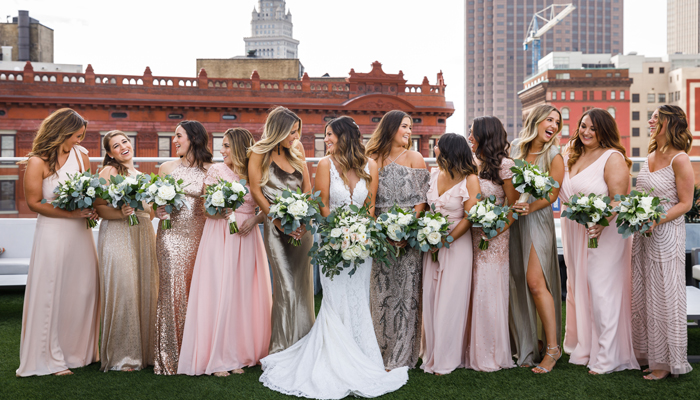 Bridesmaids in Pink and Gold | Genevieve Nisly Photography | as seen on TodaysBride.com