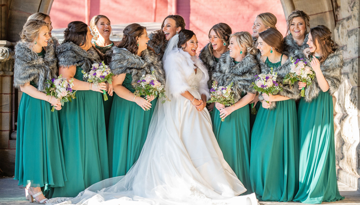 Winter Bridesmaids in Fur Wraps | Klodt Photography | as seen on TodaysBride.com