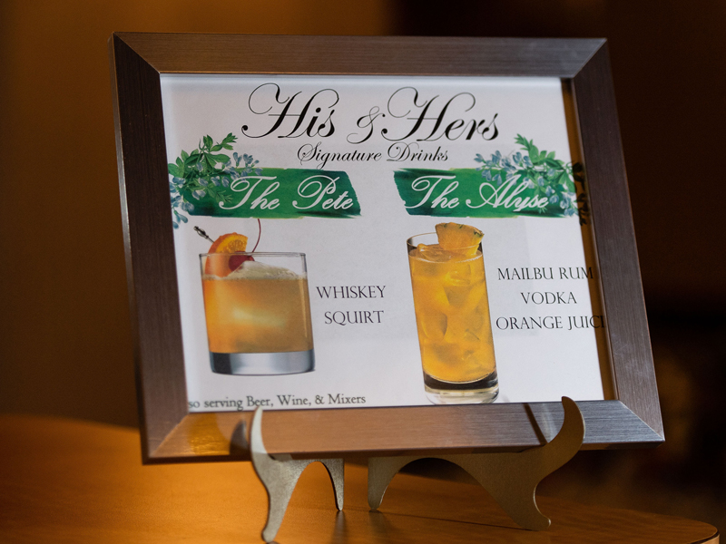 Signature Drink Sign | Klodt Photography | as seen on TodaysBride.com
