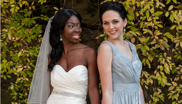 Winter Bride and Bridesmaid | LMAC Photography | as seen on TodaysBride.com