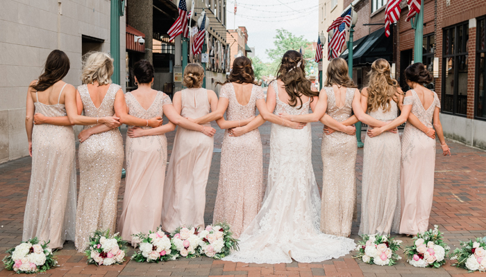 Taupe Bridesmaids Facing Backwards | Balsam and Blush Photography | as seen on TodaysBride.com