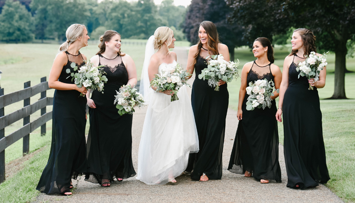 Black Bridesmaid Dresses | Twenty Two Photography | as seen on TodaysBride.com