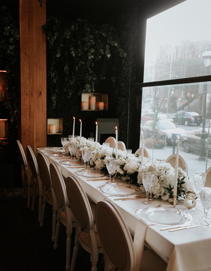 Black-tie boho wedding reception