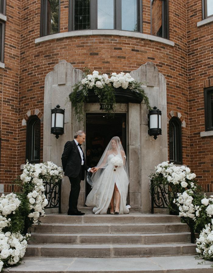 Black-tie boho bride