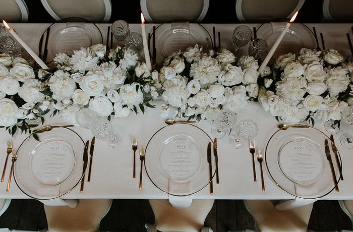 Black-tie boho wedding table