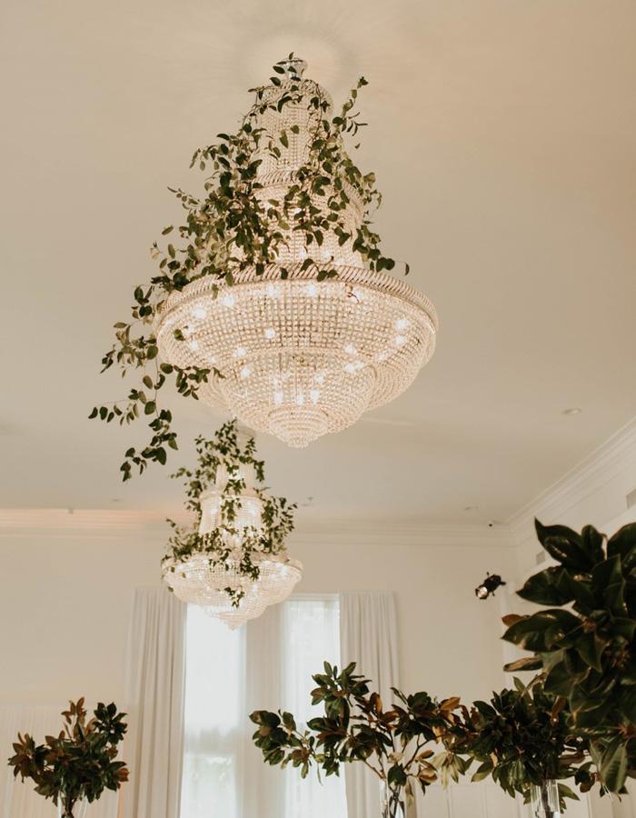 Wedding chandelier with garland