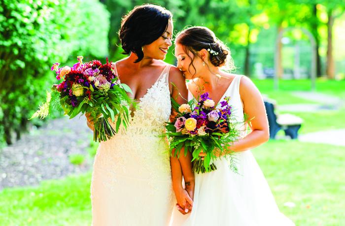 LGBTQ couple wedding portrait